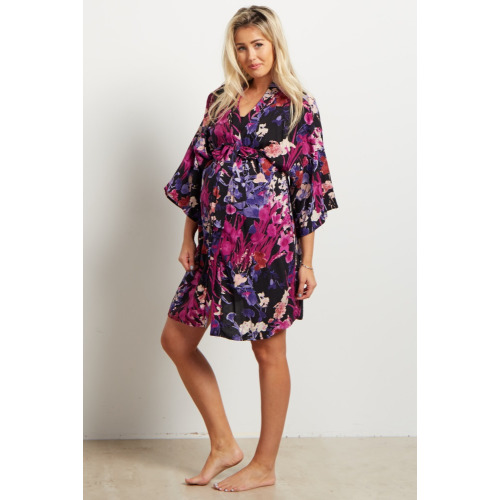 Purple-Floral-Dressing-Robe - $44.00