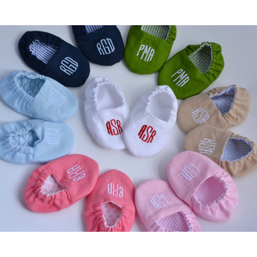 Monogrammed Reversible Infant Crib Shoes - Your Choice of Colors- Baby Boy, Baby Girl, Shower Gift, Welcome Baby, Slippers - $26.00