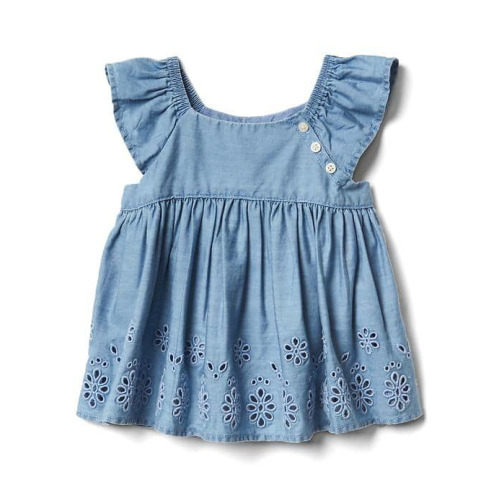 Eyelet Chambray Flutter Top - $29.95