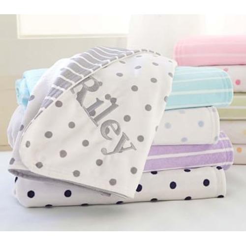 Dot & Stripe Chamois Stroller Blanket - $39.50