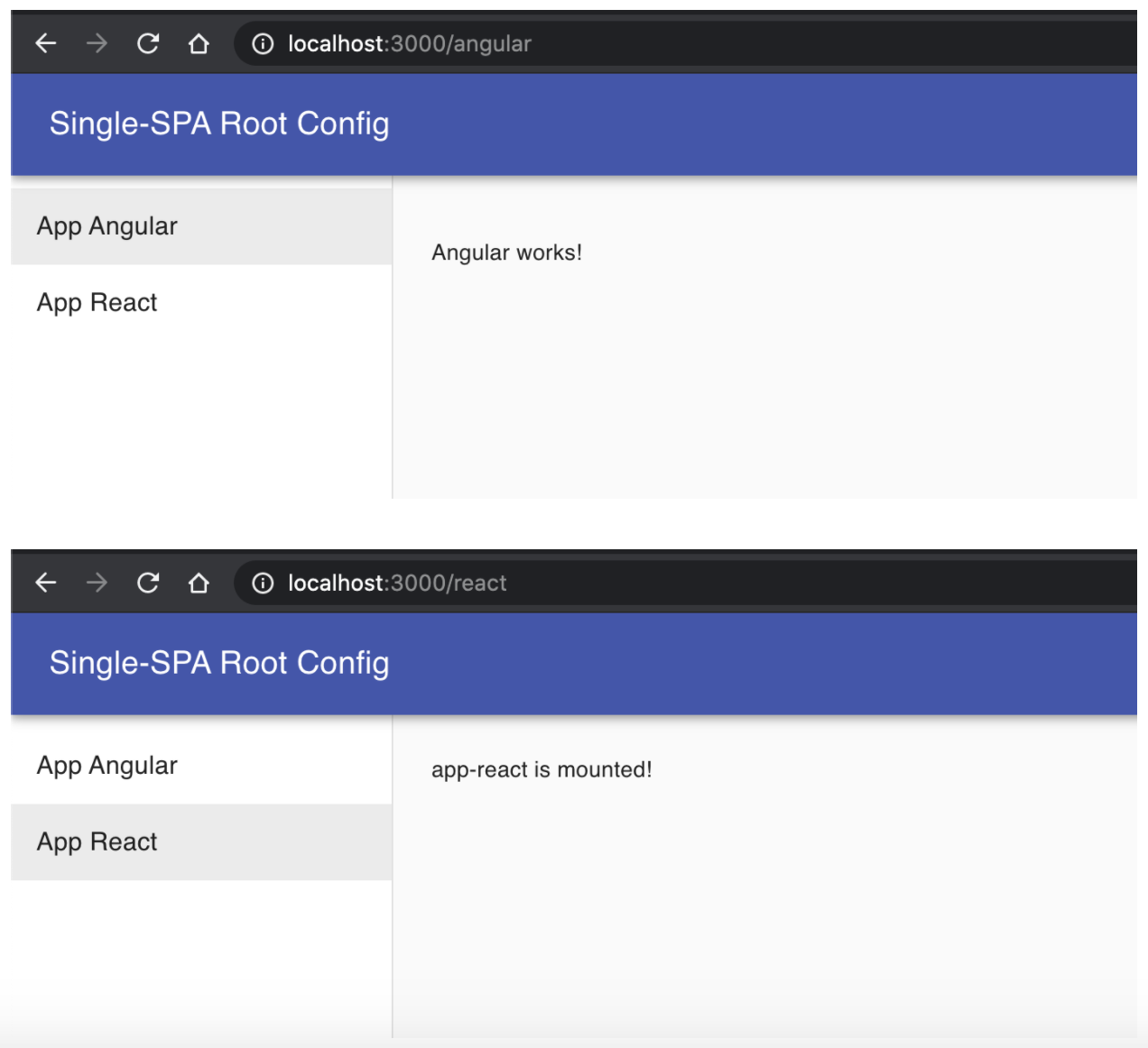 Single SPA Root Config