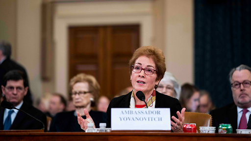 Ambassador Yovanovitch testifying in front of the House Intelligence Committee.