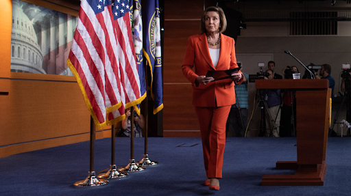 Speaker Nancy Pelosi leaving her weekly press conference in advance of The House's impending Inquiry of Impeachment vote.
