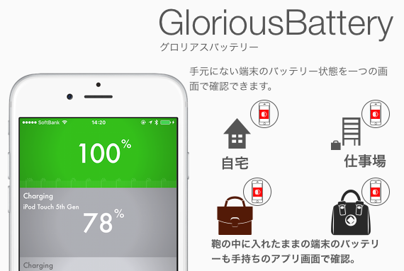 GloriousBattery(グロリアスバッテリー)の紹介(充電状態管理アプリ,iPhone, iPad,  For iOS 12 and below.)