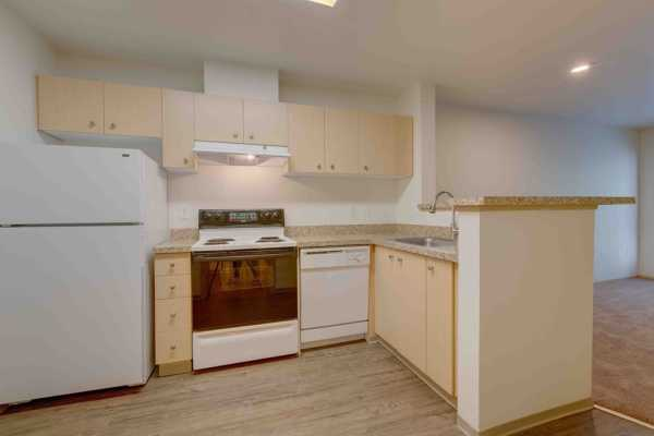 Open kitchen at Excalibur apartments