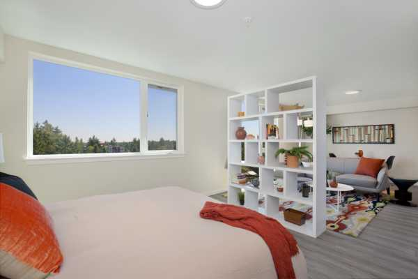 Studio apartment with window on wall.