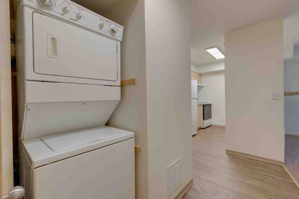 Stacked washer and dryer at Excalibur apartments