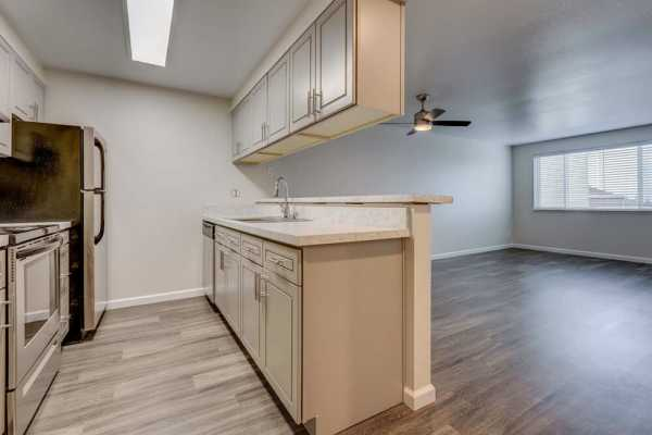 Kitchen view in Hill Crest apartments