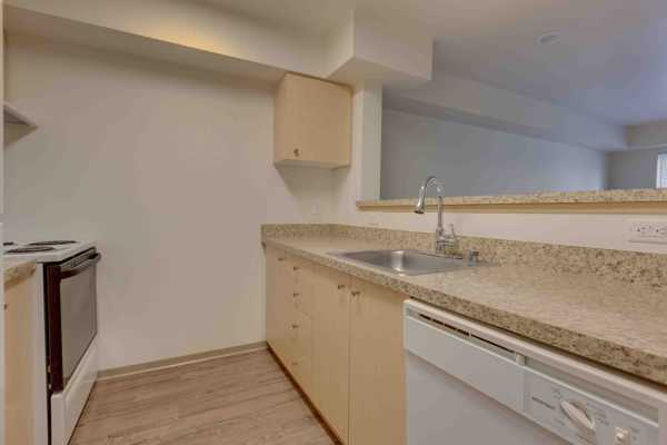 Galley style kitchen at Excalibur apartments