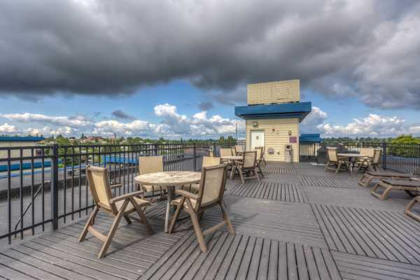 Roof deck at Guinevere Apartments