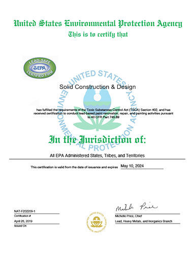 EPA Lead Safe Certified Renovator