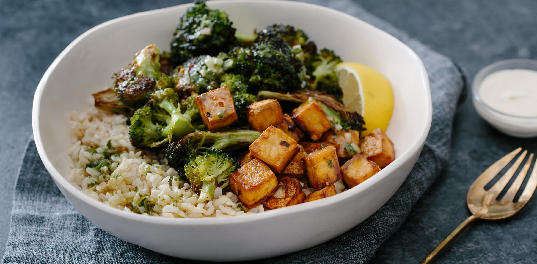 Broccoli And Crispy Tofu Rice Bowl