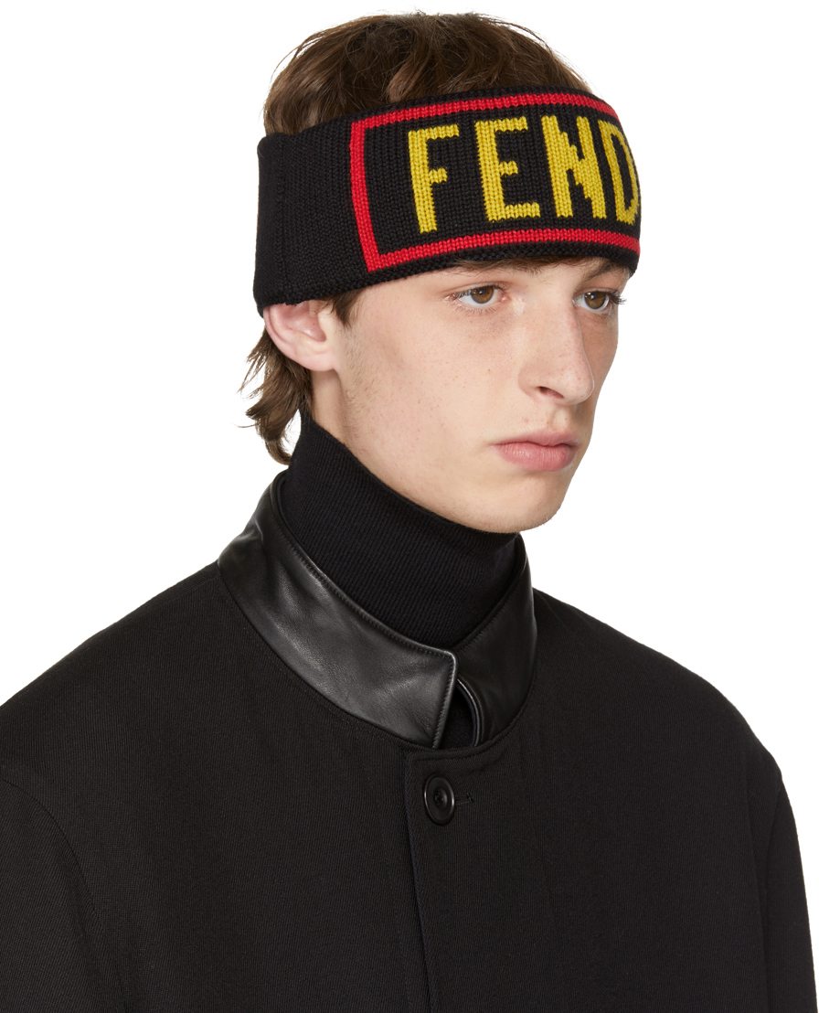 FENDI BLACK 'LOVE FENDI' HEADBAND