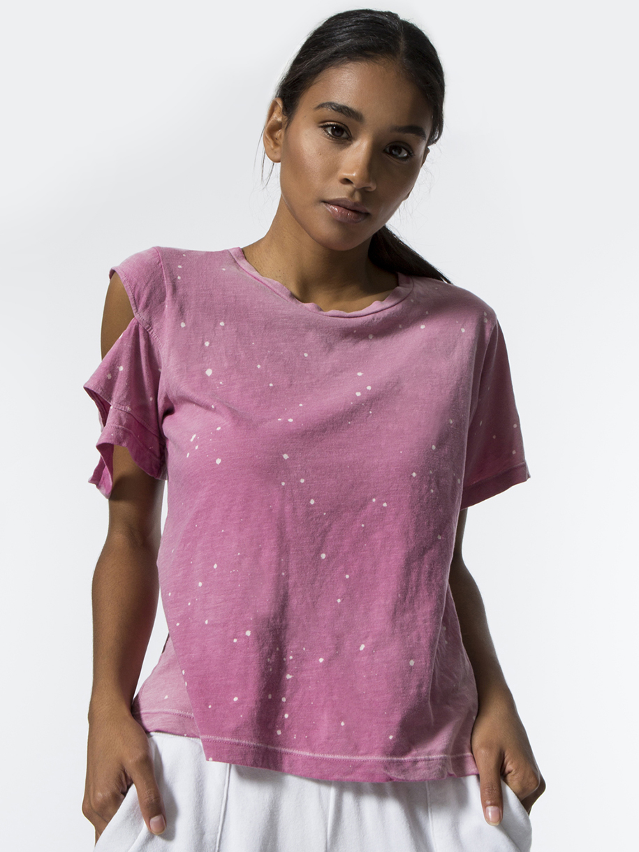 LNA Distressed Double Cut Sleeve Tee