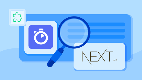 An illustration showing a web page, a magnifying glass, and the Next.js logo