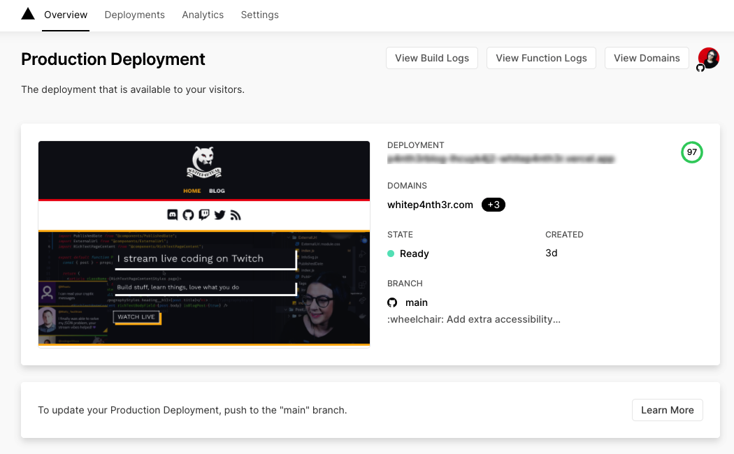 A screenshot of the deployment dashboard in Vercel which shows a screenshot of the deployed website