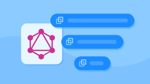Illustration of a GraphQL logo with menu options to the right of it.