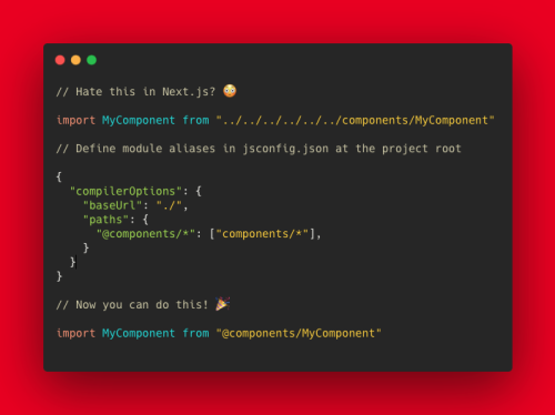 A code example of a Next.js jsconfig.json file, showing how to define absolute paths in your files.