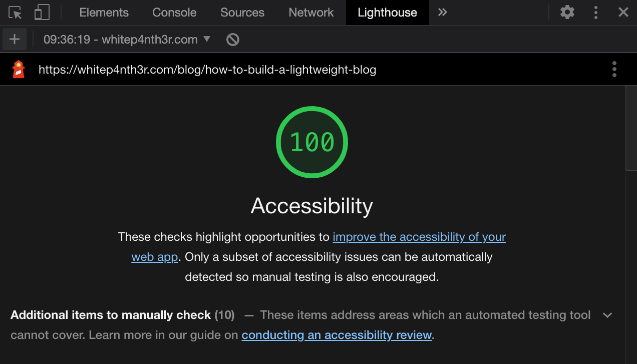 A screenshot showing a 100% Accessibility score on the Google Lighthouse dev tools tab