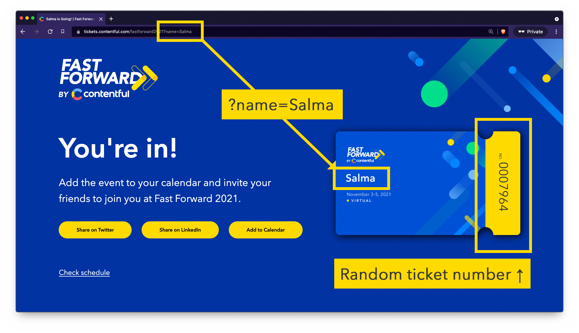 A screenshot of the Fast Forward ticket app, showing how the parameters from the URL translate to the content on the page. You can see that the name parameter from the URL is embedded onto the image of the ticket, and the random ticket number is also highlighted at the right of the ticket.