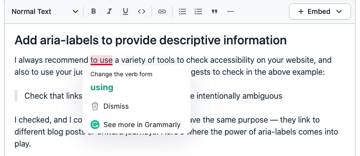 A screenshot showing Grammarly activating whilst adding content to the Rich Text field in Contentful.