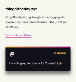 A screenshot of the styled microblog page