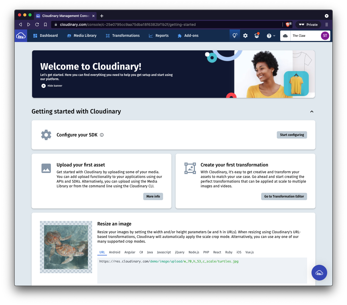 A screenshot of the Cloudinary welcome screen that you see after you log in to a fresh account.
