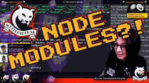 A YouTube thumbnail showing a screenshot from a live stream with the words NODE MODULES?! and the whitep4nther logo