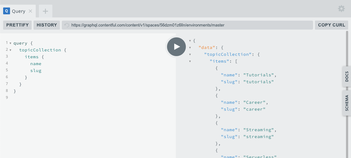Screenshot of the topic collection query in the GraphQL playground app.