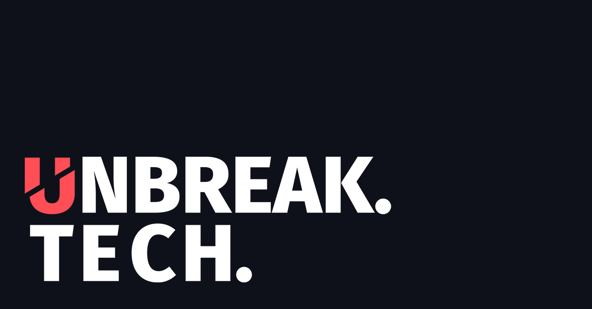 The unbreak.tech long logo on a black background with a red U.