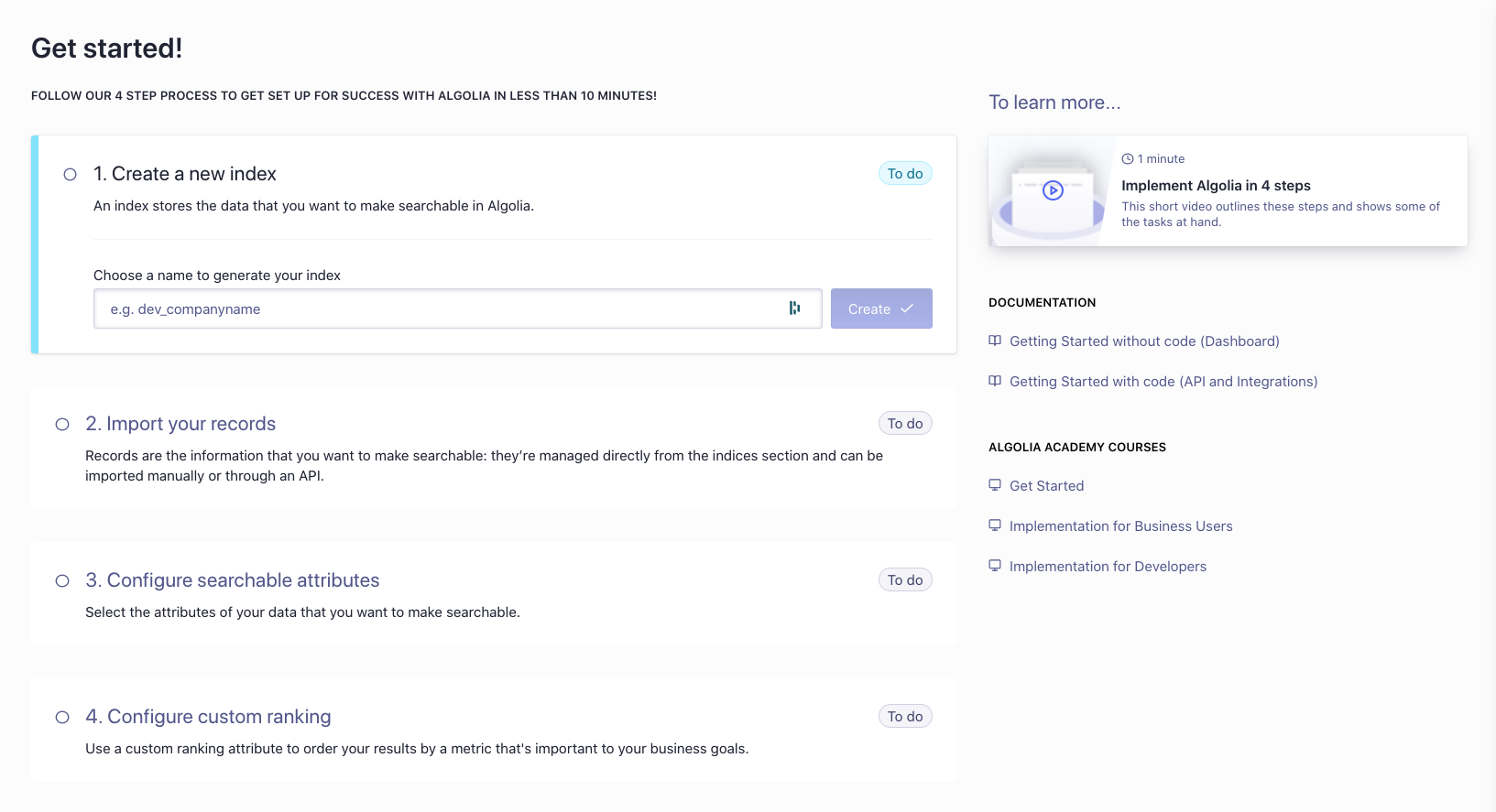 A screenshot of the Get started screen after signing up to Algolia.