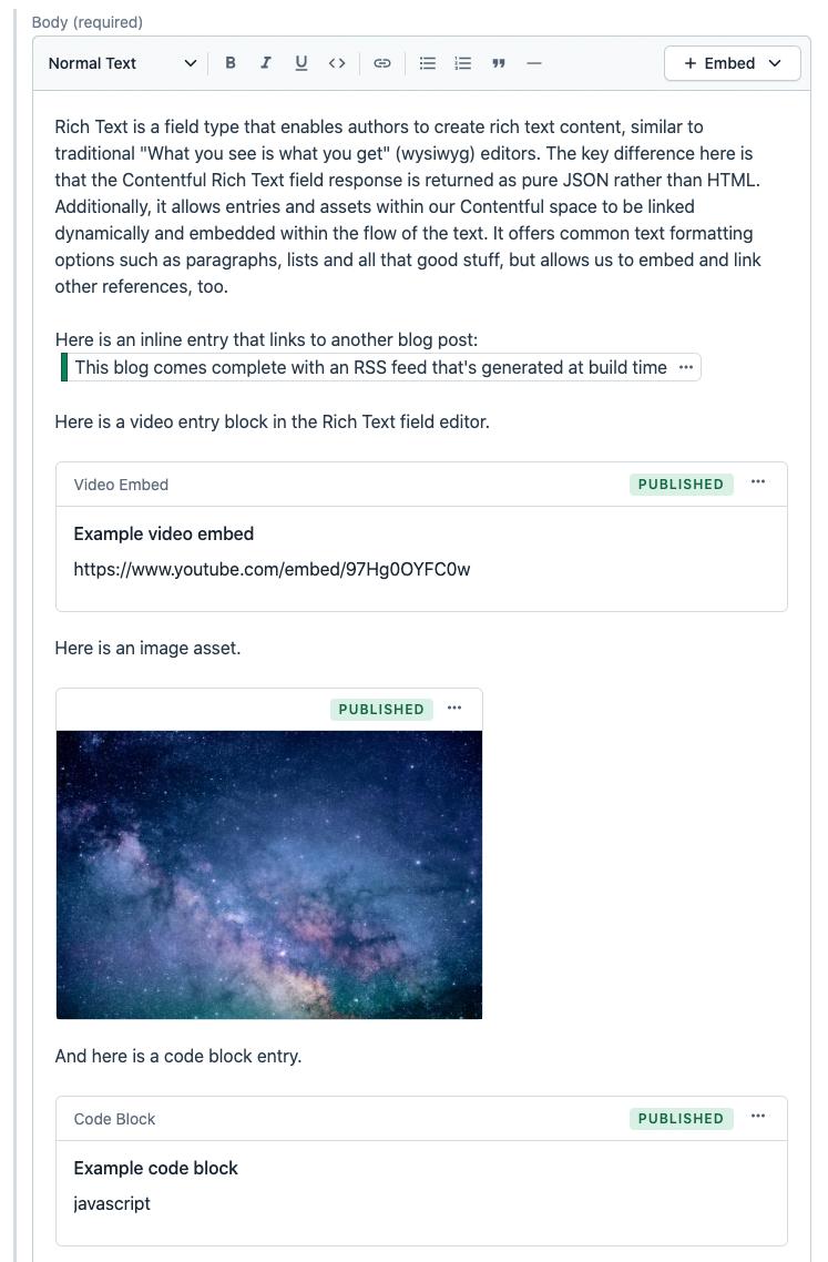Screenshot of rich text field embedded entries