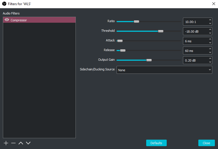 A screenshot showing the compression filter settings I use on the main audio channel of the stream