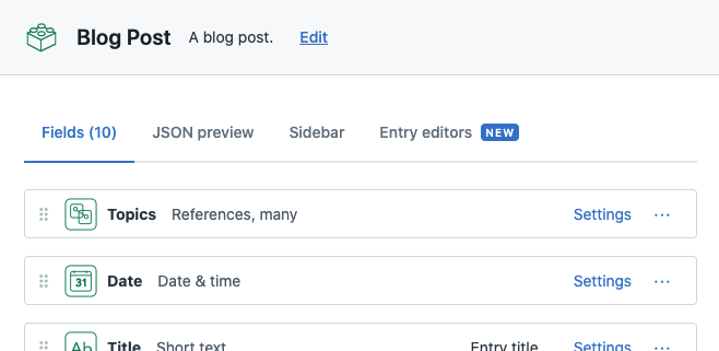 A screenshot of a Blog Post content type in Contentful showing a Topic field which is an array of linked references.