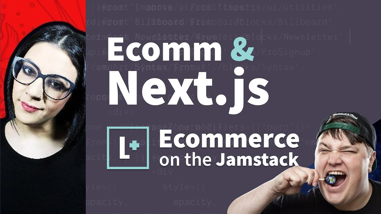 """A Youtube thumbnail featuring my headshot against a red background on the left, Colby on the right pulling a silly face, and the title in the middle which reads """"Ecomm & Next.js. Ecommerce on the Jamstack."""""""