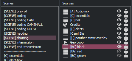 A screenshot of my chatting composite scene details from OBS