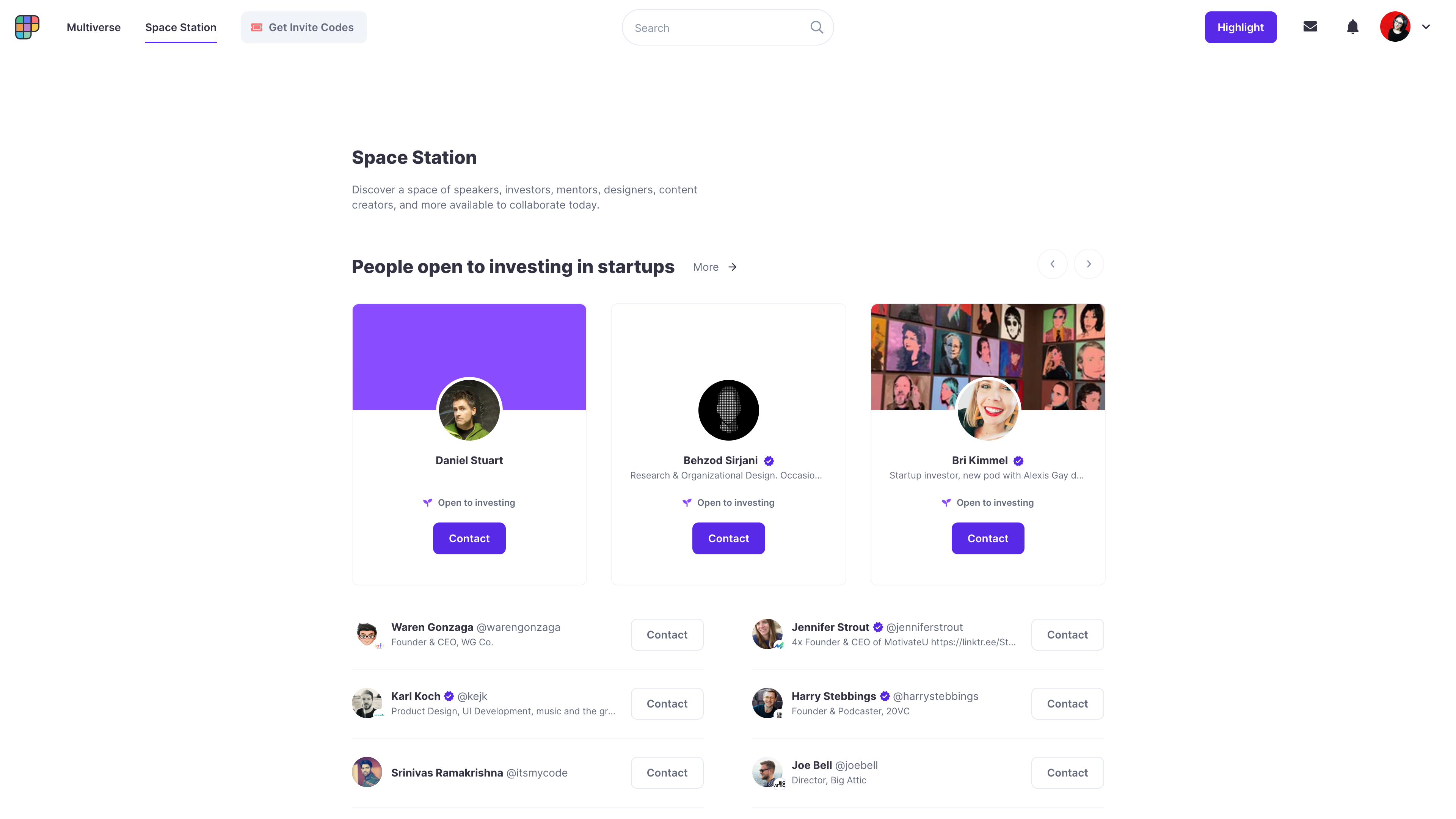 """A screenshot of the Polywork spacestation, which shows people available for collaboration. The top headline reads """"People open to investing in startups""""."""