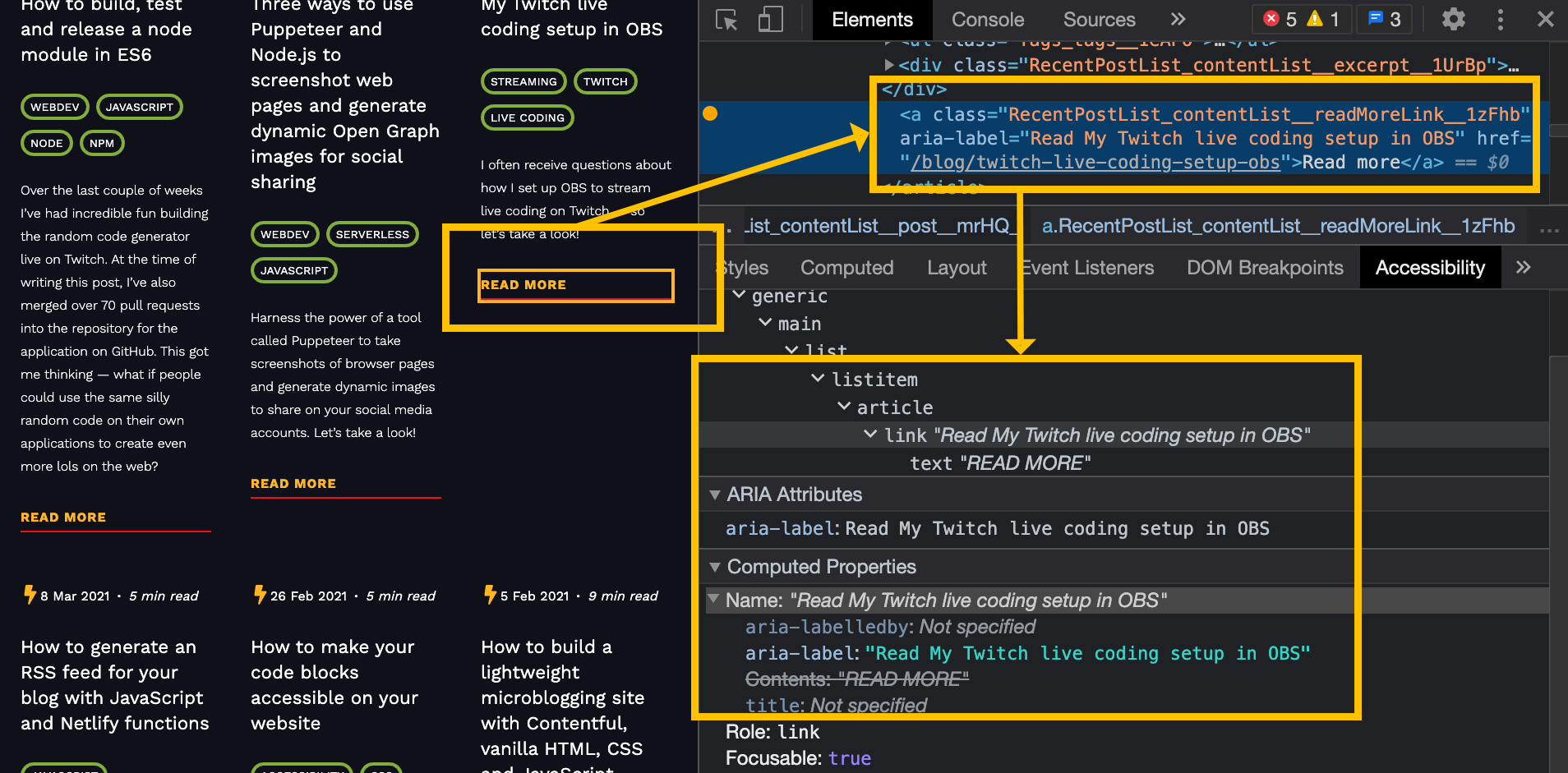 A screenshot of my website, showing how aria labels enrich the context of the HTML in the accessibility tree in Chromium dev tools.