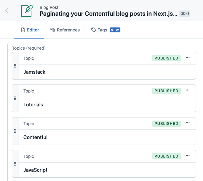 A screenshot of the Topics field on a Blog Post entry, showing the linked topics Jamstack, Tutorials, Contentful and JavaScript.