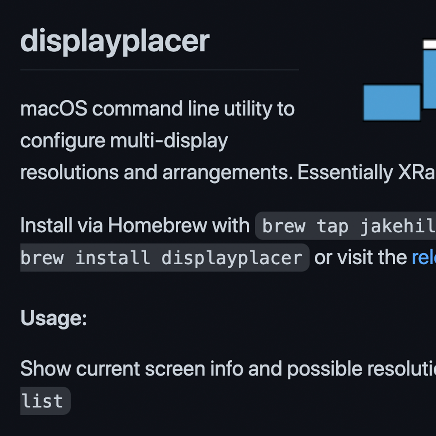 A close-up screenshot of the README file in the displayplacer GitHub repository