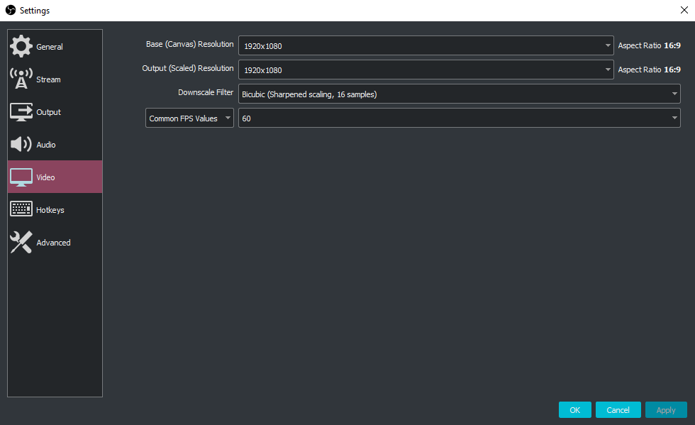 A screenshot of the video settings I use in OBS