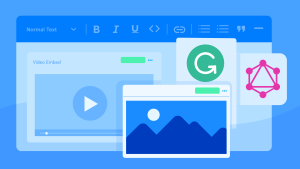An illustration of web browser windows, the GraphQL logo, the Grammarly logo and a video embed representation.
