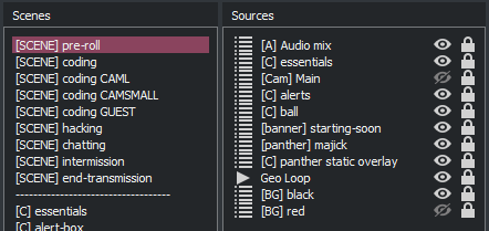 A screenshot of the pre-roll composite scene components in OBS