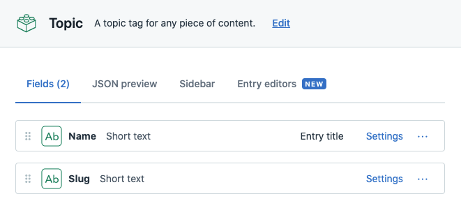 Screenshot of a Topic content type in Contentful, showing name and slug fields.