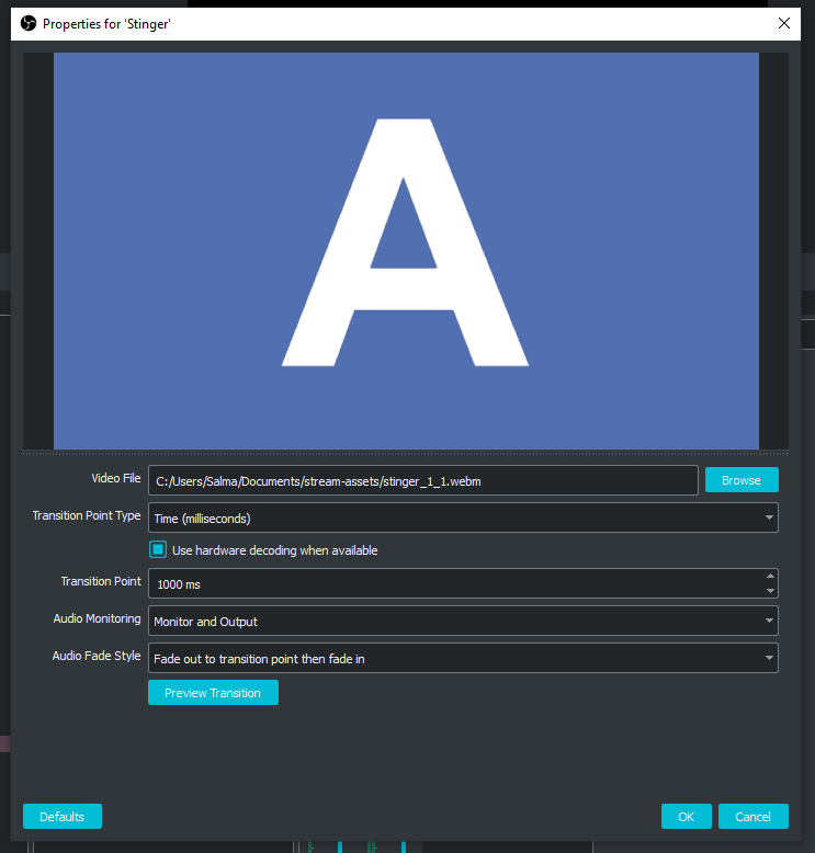 A screenshot of the transition settings I use for my stream scenes in OBS