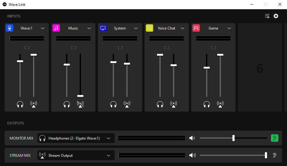 A screenshot of the Wave Link audio interface software showing the channels I add to my main stream audio channel