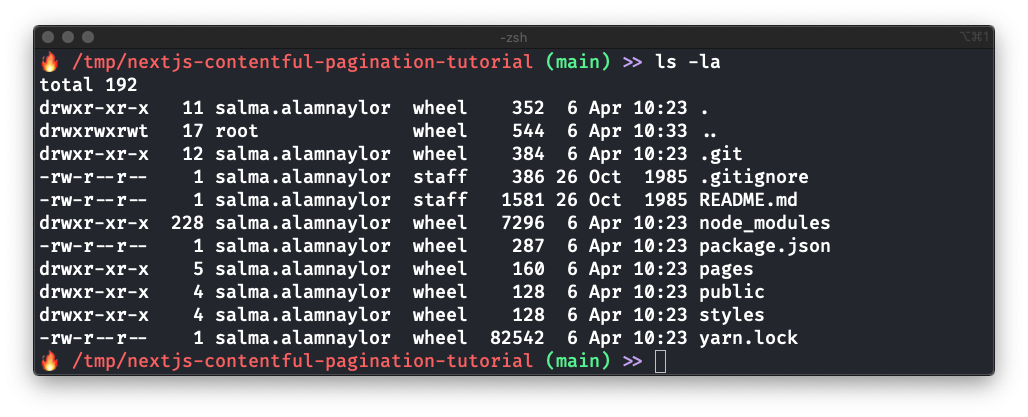 Screenshot of terminal output after running npx create-next-app and then ls -la
