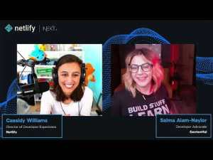 A screenshot from the Building with Next.js Cassidy Williams and Salma Alam-Naylor Architecting with Next.js 2021 video showing Cassidy on the left and Salma on the right against a Netlify branded background.