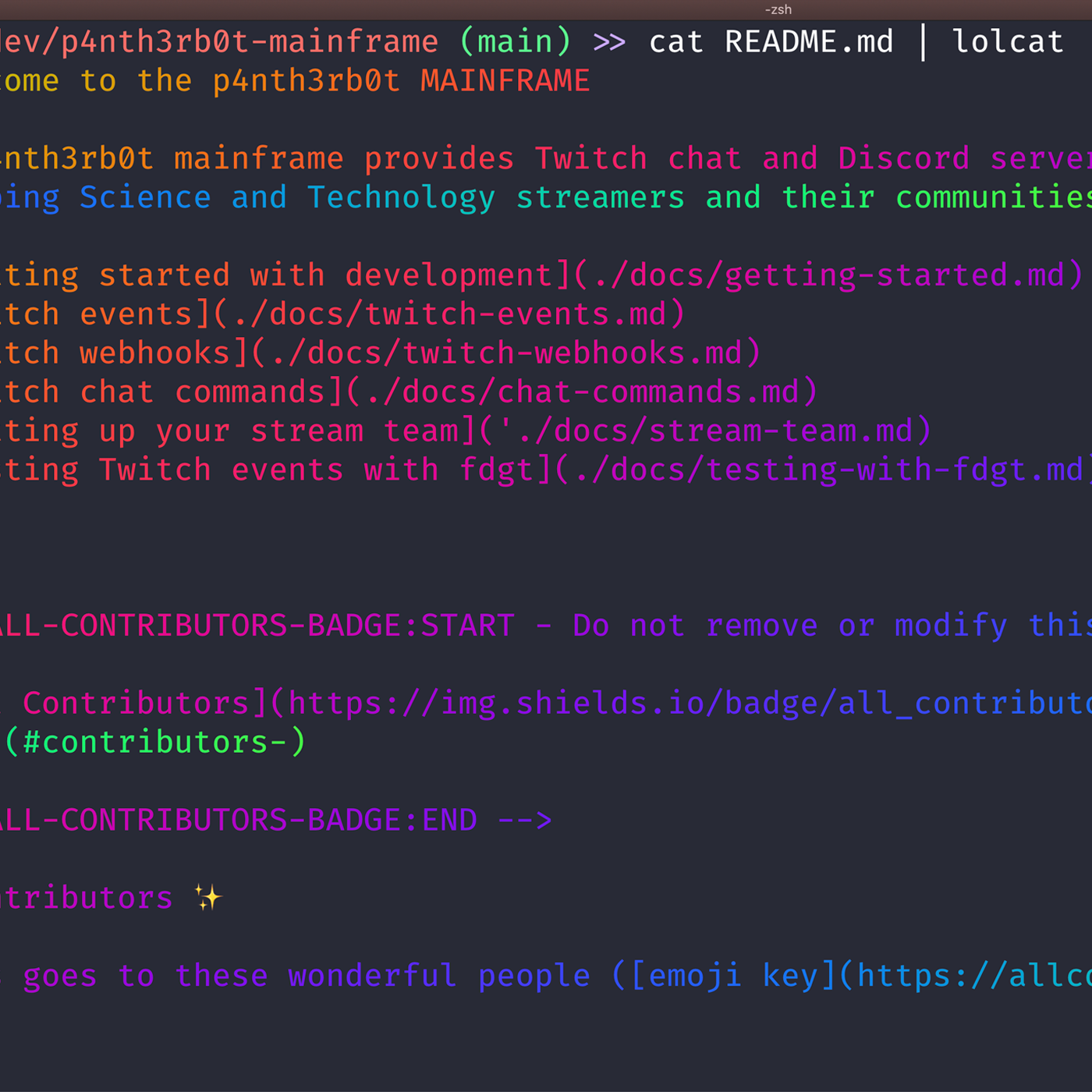 A screenshot of a terminal with the command cat README.md | lolcat