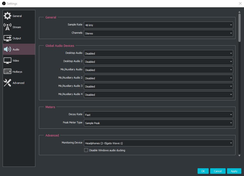 A screenshot showing the global audio settings I use in OBS